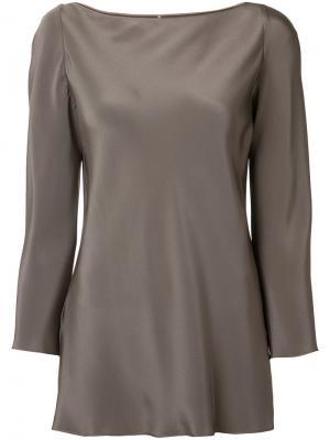 Шелковая блузка с длинными рукавами Peter Cohen. Цвет: коричневый