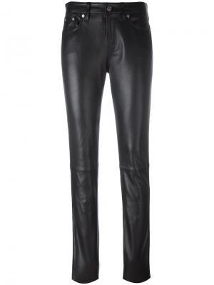 Кожаные брюки скинни Ck Jeans. Цвет: чёрный