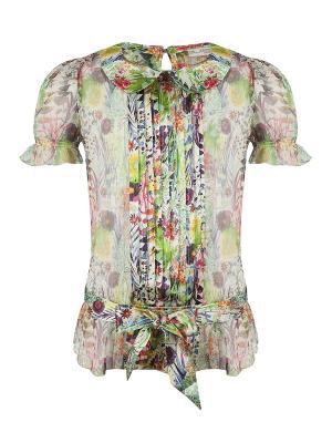 Блуза, Badu, цвет мульти (Liberty White) SUPERTRASH. Цвет: белый, зеленый