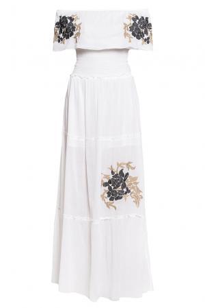 Платье из хлопка с вышивкой  186258 Cristina Effe. Цвет: белый