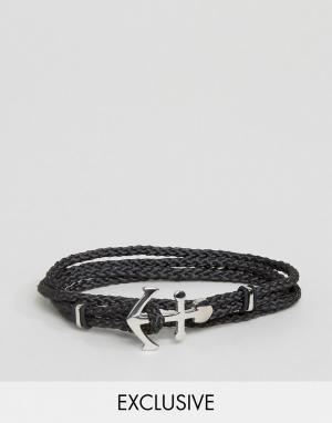 Seven London Черный плетеный браслет с якорем эксклюзивно для ASOS. Цвет: черный