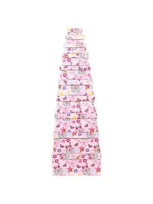 Коробка картонная, набор из 10 шт. 6.5х3х3 - 24.5х22.5х11.5 см. Замок принцессы VELD-CO. Цвет: темно-фиолетовый, белый, розовый