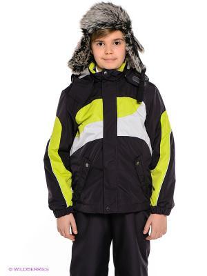 Куртка HUPPA. Цвет: антрацитовый, желтый