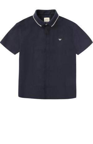 Льняная рубашка с логотипом бренда и коротким рукавом Giorgio Armani. Цвет: синий
