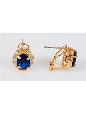Серьги шпинель овал цирконы сбоку Lotus Jewelry. Цвет: синий