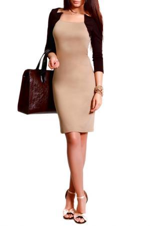 Платье FRANCESCA LUCINI. Цвет: бежевый, коричневый