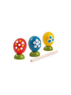 Набор Музыкальные яйца PLAN TOYS. Цвет: голубой, красный, желтый