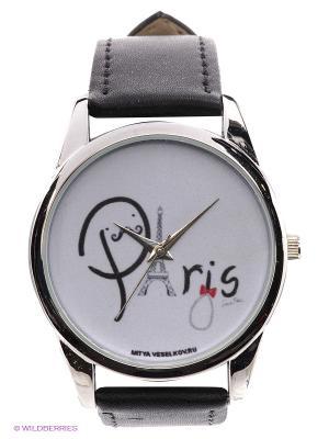 Часы Paris буквами Mitya Veselkov. Цвет: черный, серебристый