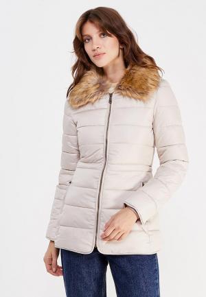 Куртка утепленная oodji. Цвет: бежевый