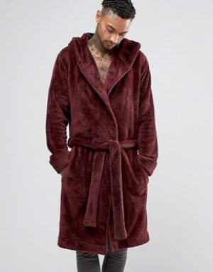 ASOS Бордовый флисовый халат с капюшоном. Цвет: красный