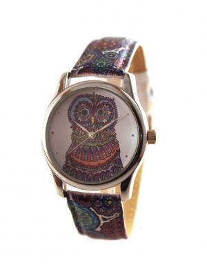 Дизайнерские часы Owl Tina Bolotina. Цвет: синий, терракотовый, голубой