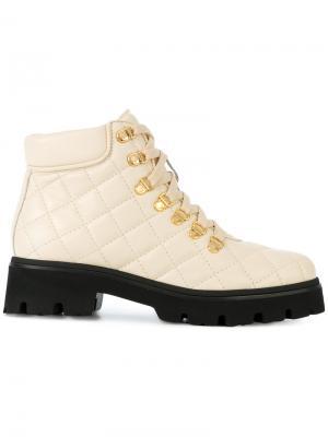 Стеганые ботинки на шнуровке Baldinini. Цвет: телесный