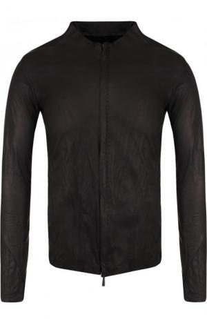 Кожаная куртка на молнии с круглым вырезом Masnada. Цвет: черный