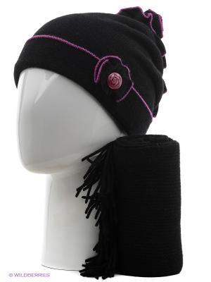 Шапка, шарф Vittorio Richi. Цвет: черный, сиреневый