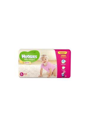 Подгузники Ultra Comfort Размер 4+ 10-16кг 68шт для девочек HUGGIES. Цвет: розовый