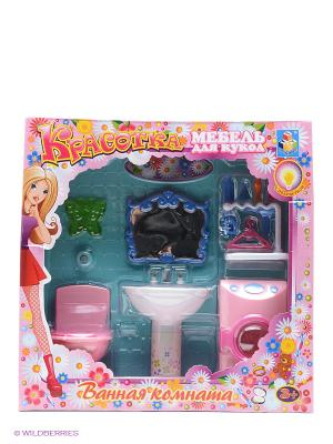 Набор мебели для кукол, с подсветкой - ванная со стиральной машинкой Красотка 1Toy. Цвет: прозрачный