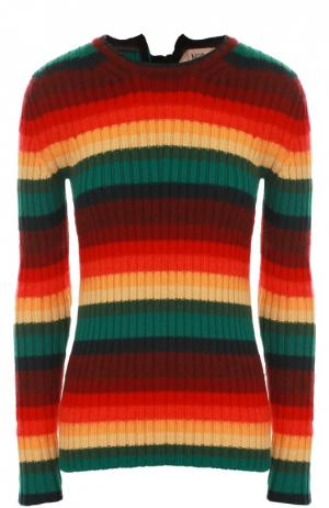 Облегающий пуловер с круглым вырезом в яркую полоску No. 21. Цвет: разноцветный