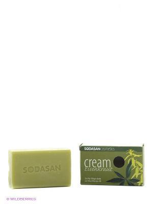Мыло-крем туалетное твердое глицериновое Вербена, 100 гр Sodasan. Цвет: темно-зеленый