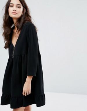 BA&SH Свободное платье. Цвет: черный