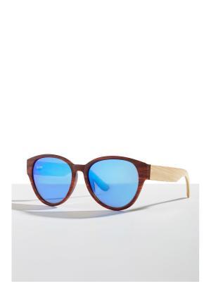 Бамбуковые очки Фиджи Nothing but Love. Цвет: терракотовый, голубой, светло-желтый