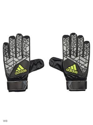 Вратарские перчатки взр. ACE TRAINING  BLACK/SILVMT/SYELLO Adidas. Цвет: серый, черный