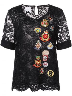 Блузка с вышивкой Edward Achour Paris. Цвет: чёрный