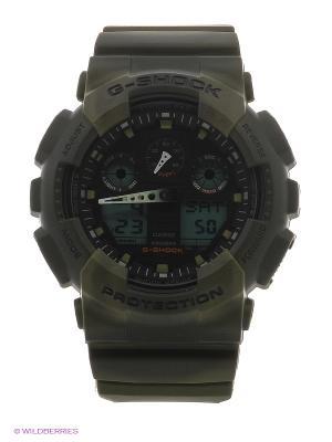 Часы G-Shock GA-100MM-3A CASIO. Цвет: темно-зеленый