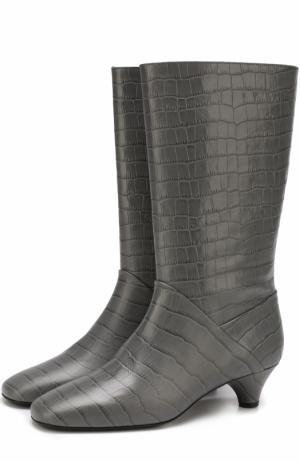 Кожаные сапоги с тиснением на каблуке kitten heel Marni. Цвет: серый