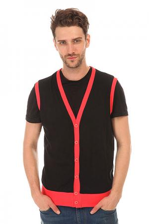 Жилетка  Jersey Button Vest Black-infrared Urban Classics. Цвет: черный,розовый