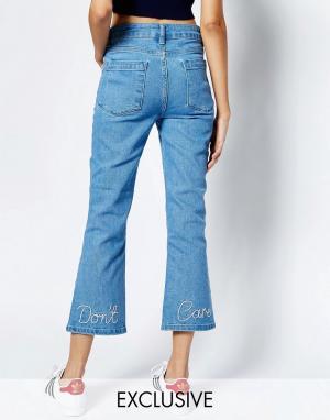 See You Never Denim Расклешенные джинсы с вышивкой Dont Care