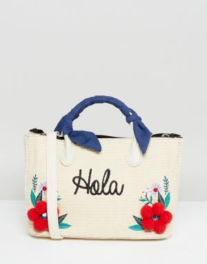 Skinnydip Соломенная сумка-тоут с цветами и помпонами. Цвет: бежевый