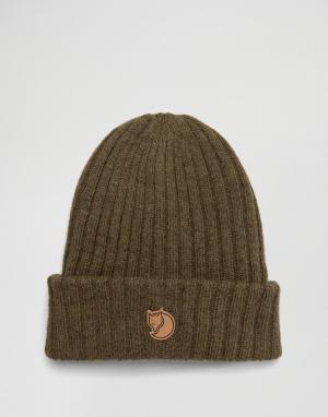 Fjallraven Оливковая шерстяная шапка‑бини Byron. Цвет: зеленый