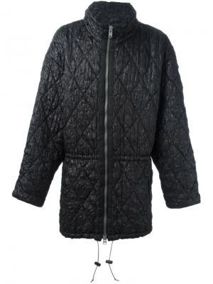 Стеганое пальто на молнии Issey Miyake Vintage. Цвет: чёрный