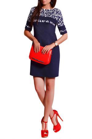 Платье FRANCESCA LUCINI. Цвет: темно-синий, квадраты