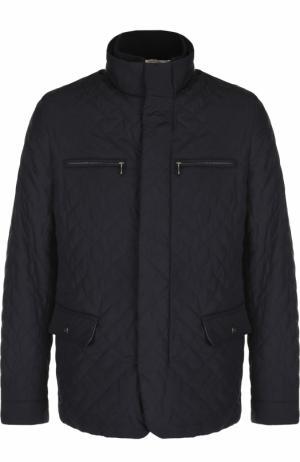 Стеганая куртка на молнии с воротником-стойкой Bilancioni. Цвет: темно-синий