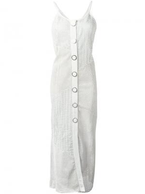 Длинное кожаное платье Drome. Цвет: телесный