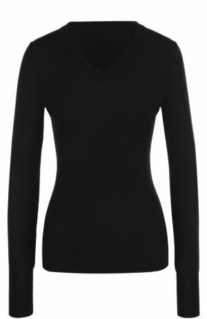 Облегающий шерстяной пуловер с V-образным вырезом Alaia. Цвет: черный
