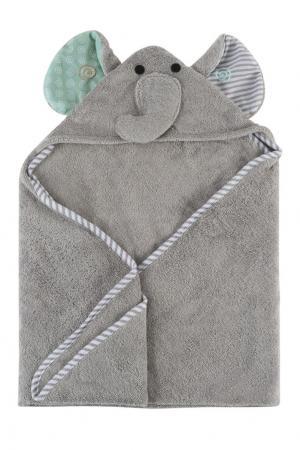Серое детское полотенце с капюшоном Zoocchini. Цвет: multicolor
