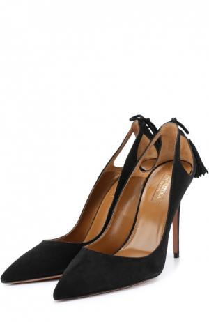 Замшевые туфли Forever Marilyn с кисточкой Aquazzura. Цвет: черный
