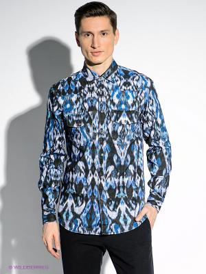Рубашка Just Cavalli. Цвет: голубой, белый, черный, бирюзовый