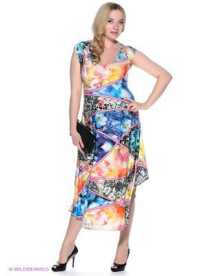 Платье МадаМ Т. Цвет: синий, оранжевый, розовый