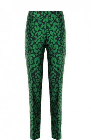 Укороченные брюки прямого кроя с контрастным принтом Oscar de la Renta. Цвет: зеленый