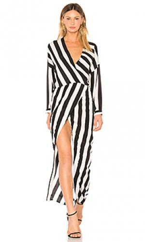 Платье с запахом draped caftan Michelle Mason. Цвет: black & white