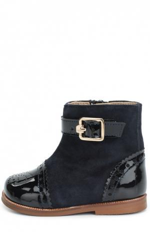 Комбинированные ботинки с перфорацией Clarys. Цвет: синий