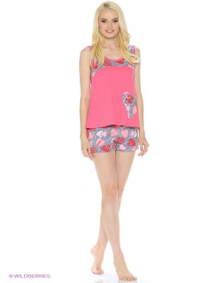 Комплект домашней одежды (майка, шорты) HomeLike. Цвет: розовый, серый