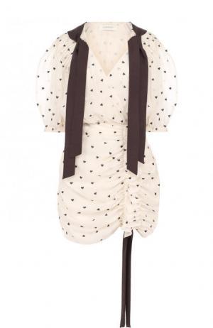 Мини-платье из смеси хлопка и шелка с драпировкой Zimmermann. Цвет: кремовый