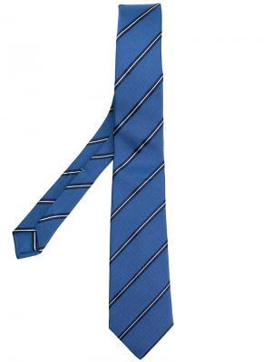 Жаккардовый галстук в полоску Borrelli. Цвет: синий