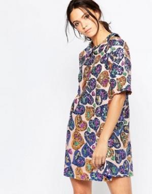 Ivana Helsinki Свободное платье с пайетками Irene. Цвет: мульти