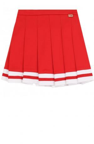 Хлопковая юбка с защипами и контрастной отделкой Fendi Roma. Цвет: красный