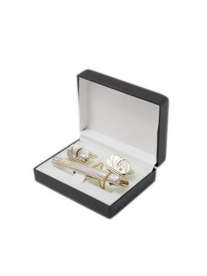 Зажим для галстука и запонки в коробочке Mitya Veselkov. Цвет: серебристый, золотистый